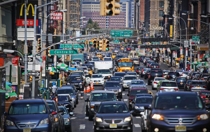 emissions cars in manhatten busy road